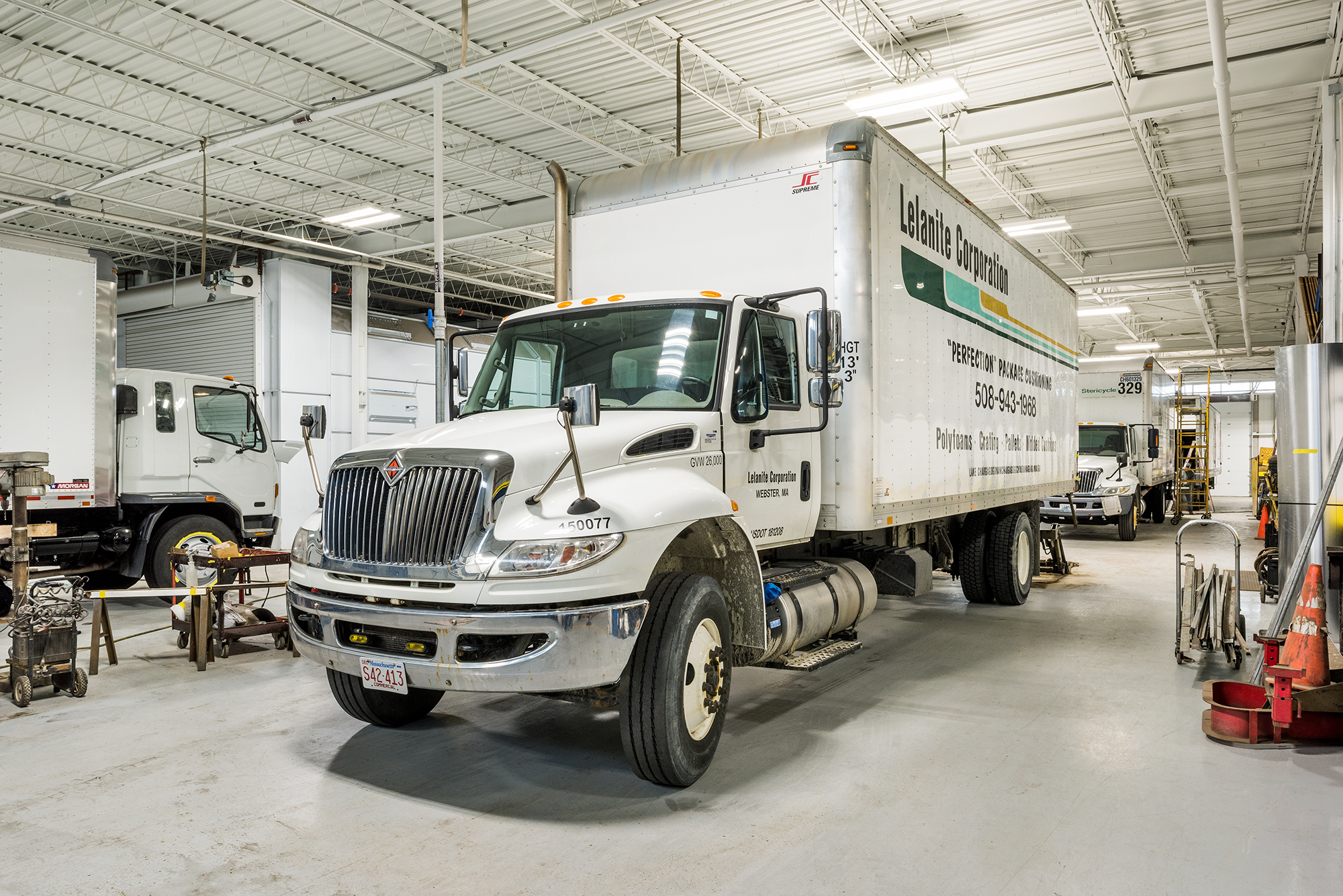 Inside one of the largest Commercial Truck Repair And Collision Service garages In Rhode Island
